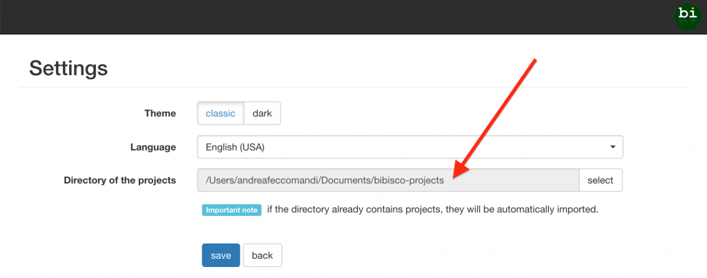 Projects' directory selection bibisco blog | useful resources by your novel writing software