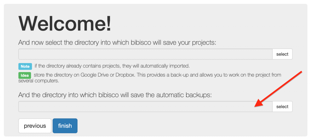 Automatic backups' directory selection bibisco blog | useful resources by your novel writing software